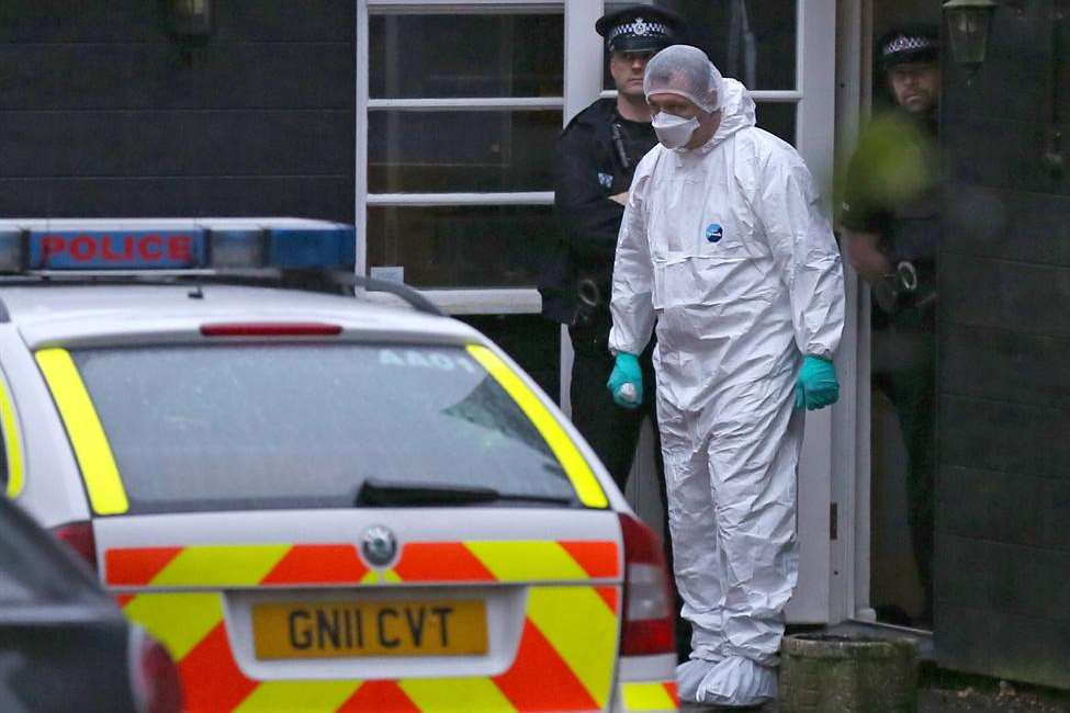 Forensics officers at the Wrotham home of Peaches Geldof. Picture: Invicta Kent Media/Jim Bennett
