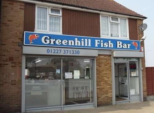 The chippie is adjacent to the Greenhill roundabout in Poplar Drive