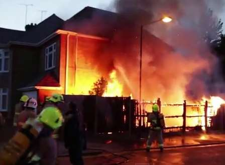 The flames engulf part of the house in Rainham. Picture: Rainhamhistory