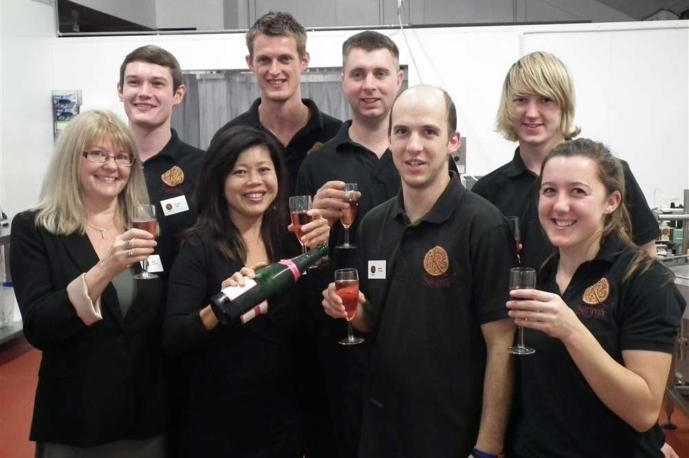 Monica Chia and her team at the official opening of the Karimix premises in Selling, near Faversham