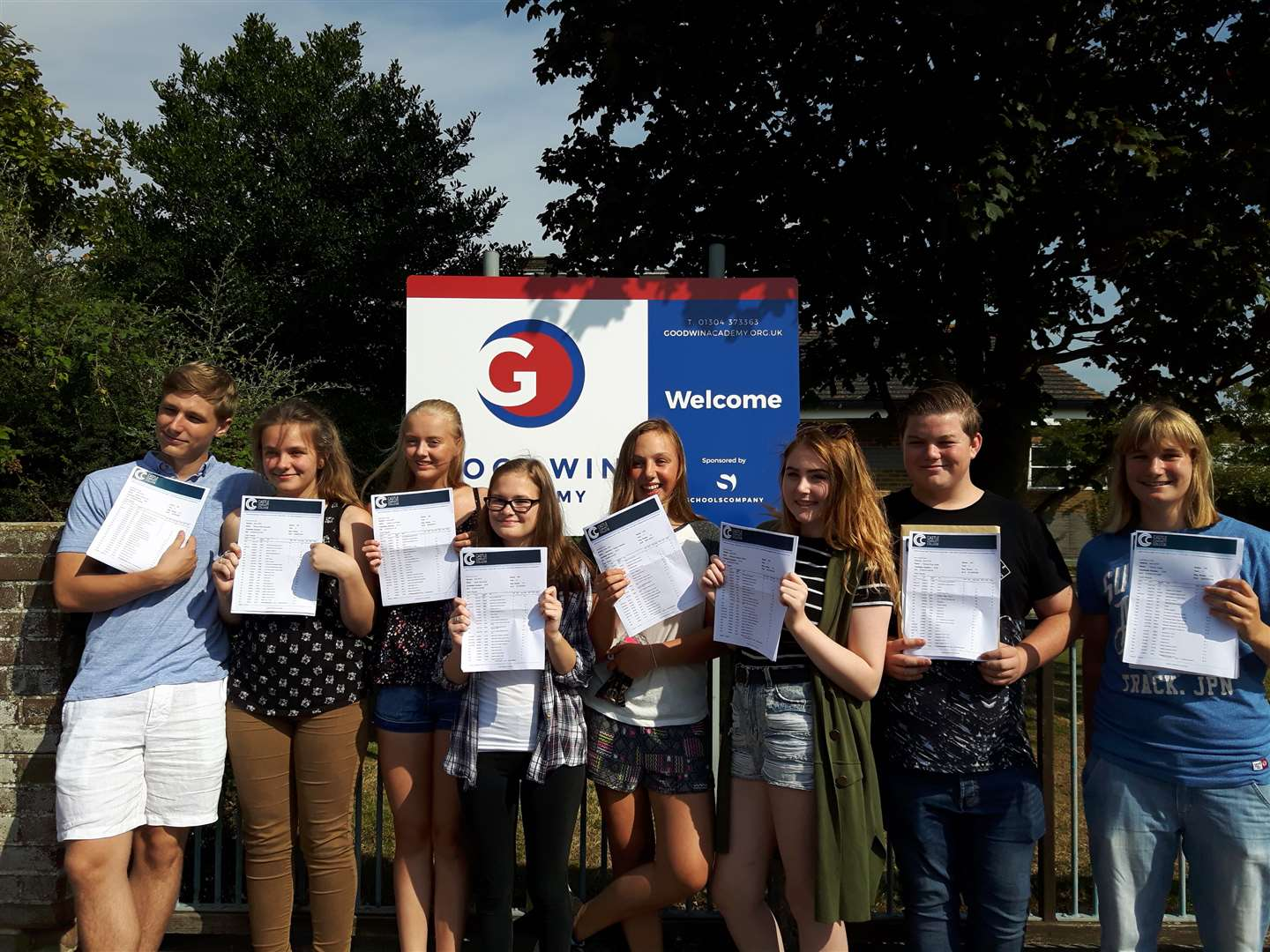Goodwin Academy pupils celebrating their results