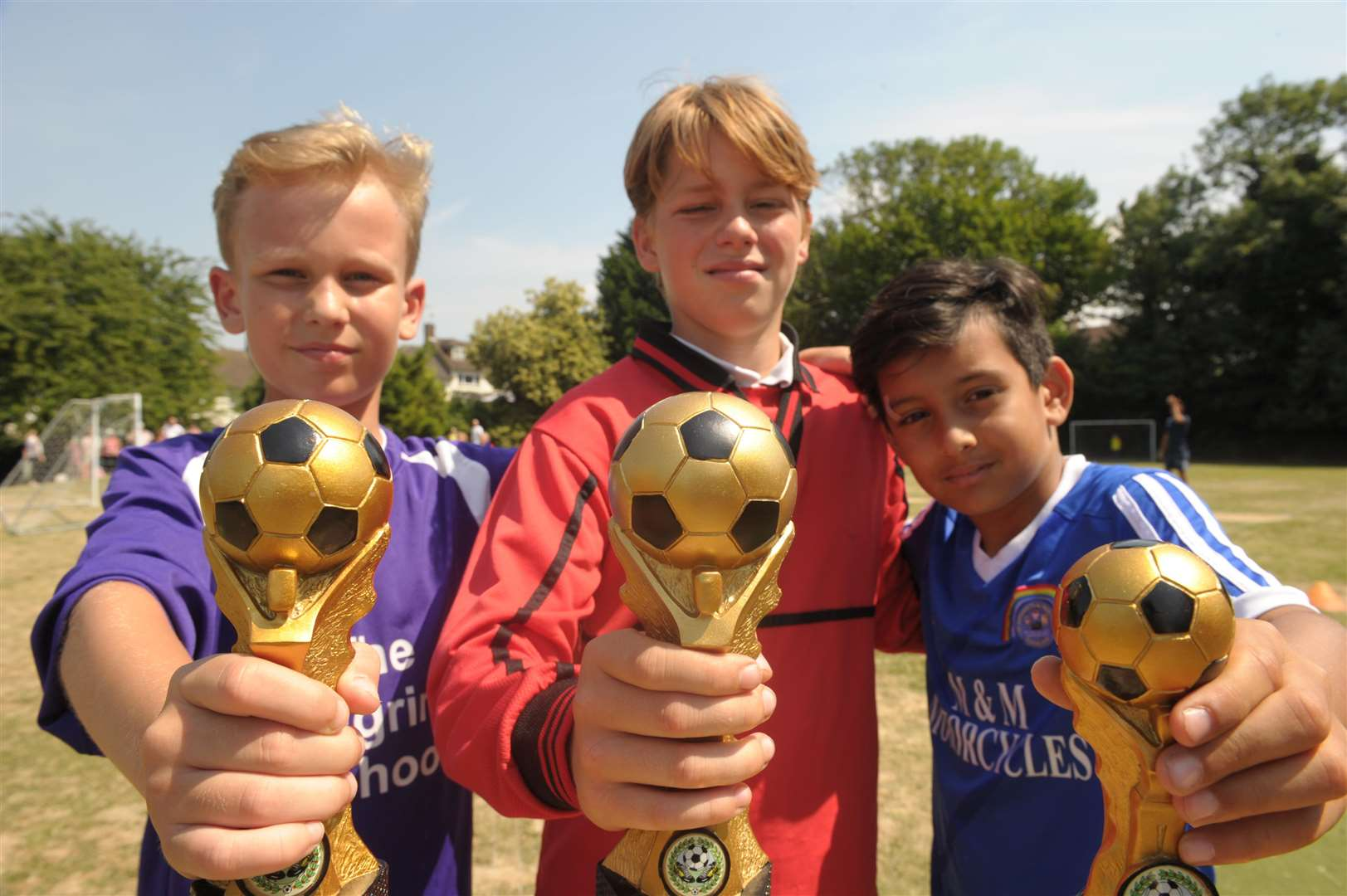 The Pilgrims School, Warwick Crescent, Borstal..World Cup Day..L-R: Zac (11) Pilgrim, Jack (11) St Mark's (Eccles) and Thakur (10) St Margarets of Troy Town,.Picture: Steve Crispe. (2924101)