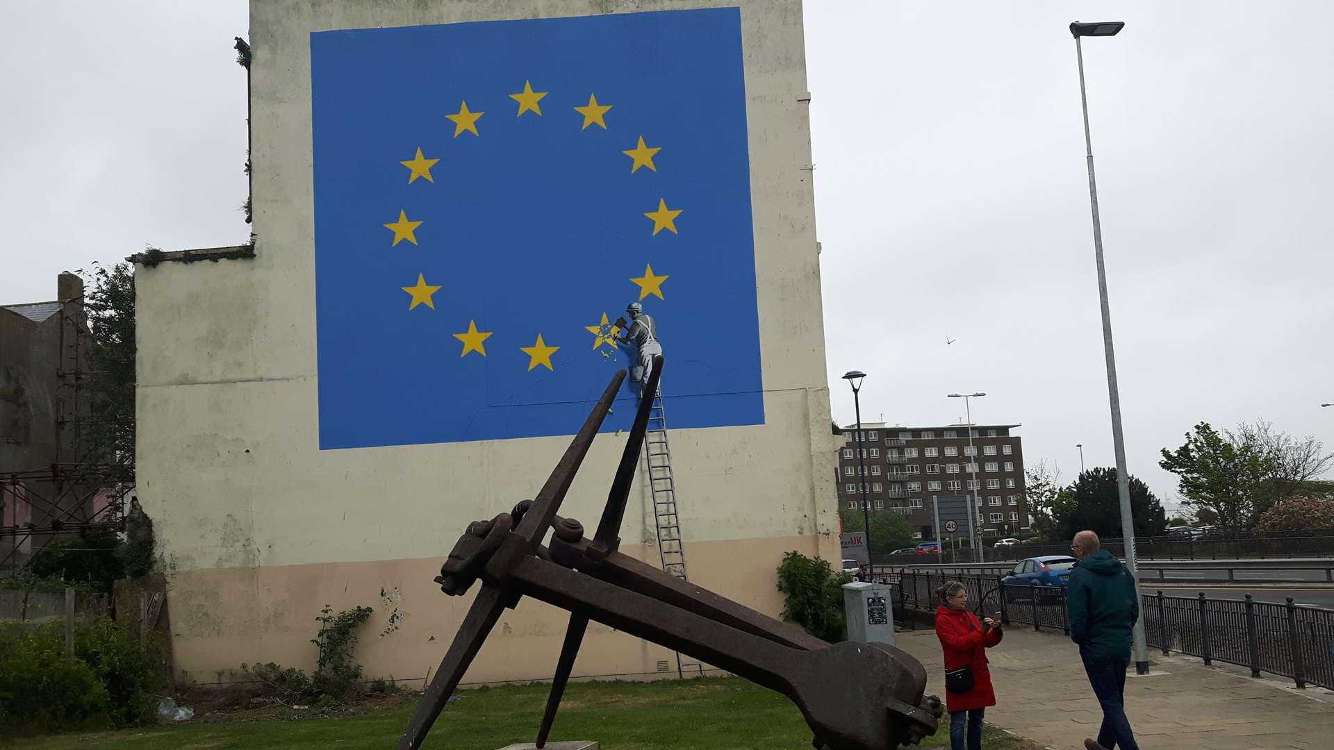 Elusive artist Banksy crept into Dover and painted a Brexit themed mural last Sunday