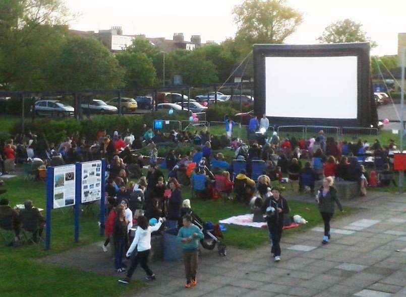 Crowds at the opening of SEAL's outdoor cinema