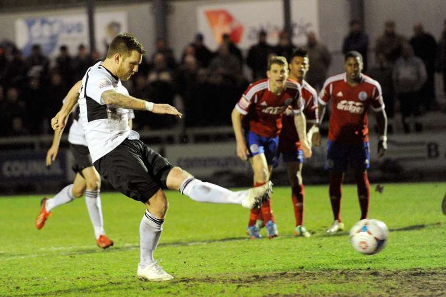 Elliot Bradbrook scores from the penalty spot against Aldershot Picture: Simon Hildrew