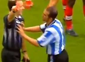 The moment Paul Alcock was shoved by Paolo Di Canio