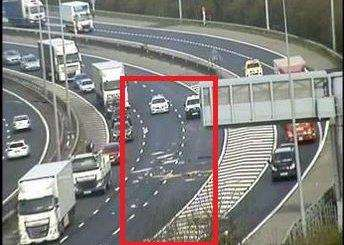 A lorry shed its load on the M20. Picture: Highways England