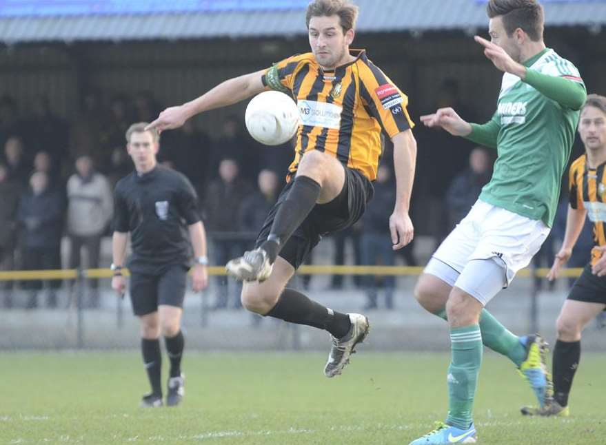 Liam Friend in action for Folkestone against Leatherhead Picture: Gary Browne