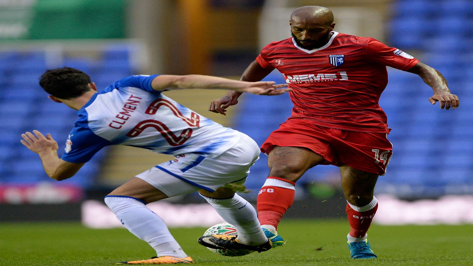 Josh Parker takes on Reading's Pelle Clement Picture: Ady Kerry