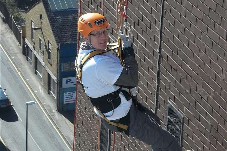 Staff from DHL Dartford took part in the KM Charity Team abseil in Maidstone for for Milly Moo Foundation. Ian Bardsley of Cuxton.