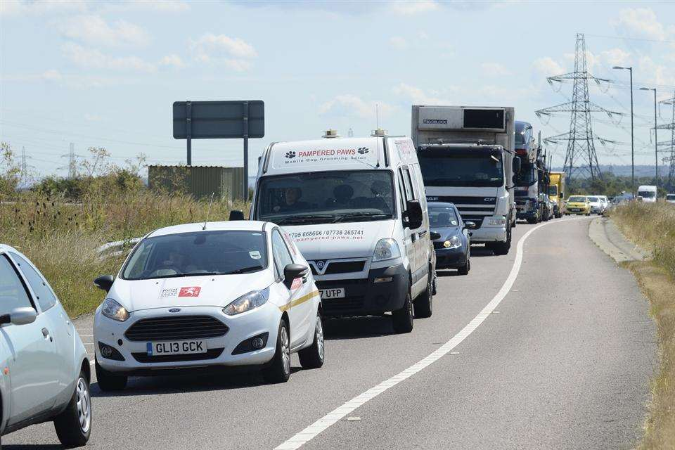 Traffic at a standstill after the Sheppey Crossing crash