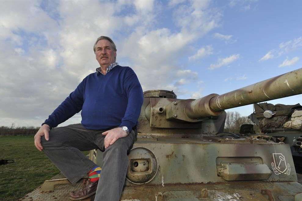 War and Peace Revival owner Rex Cadman with a German Panzer IV tank