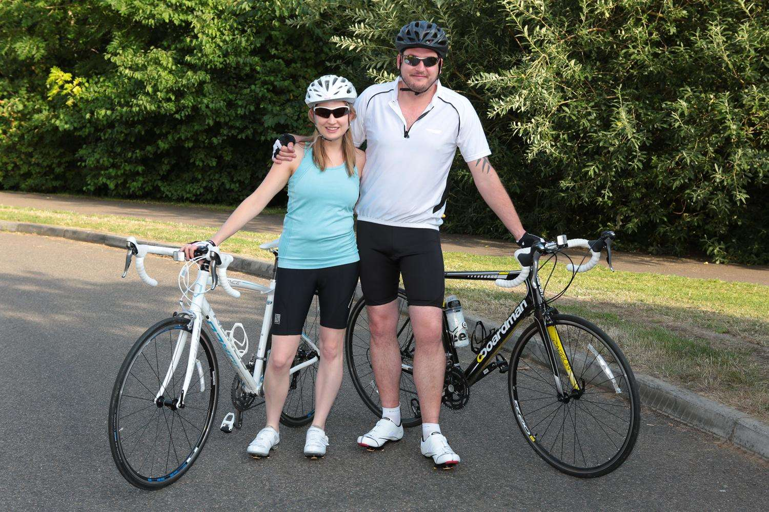 Ellen Huelin and husband Kirk ahead of their charity bike ride in tribute to her dad