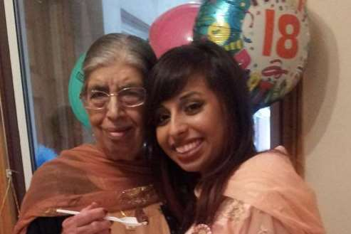 Harjit Chaggar with granddaughter Hannah on her 18th birthday