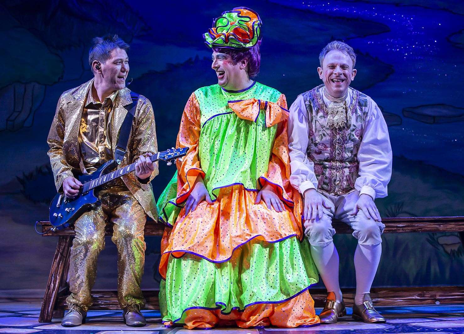 The Marlowe's Chris Wong, Ben Roddy and Lloyd Hollett in Mother Goose. Picture: Pamela Raith Photography