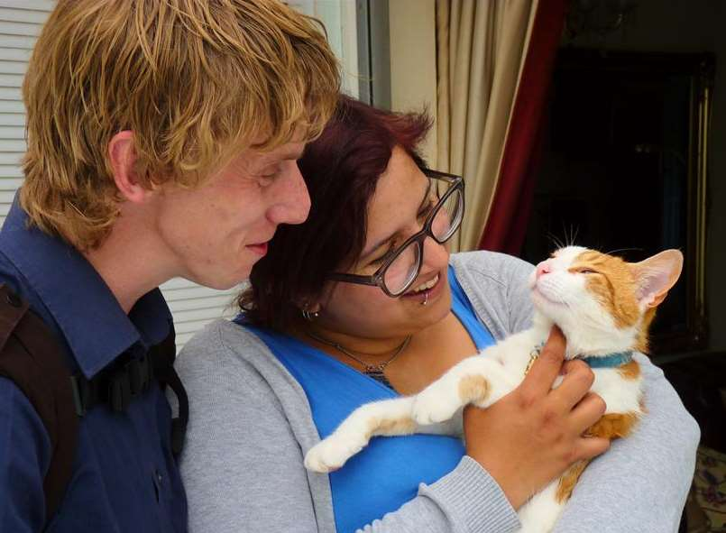 Iona and Colin Gourlay, who have now been reunited with their missing cat Murakami