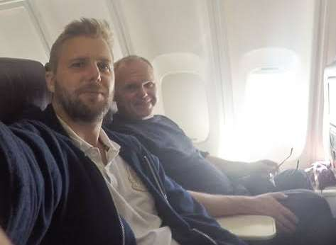 James Roberts on a flight from Gatwick with hypnotherapist Jason O'Callaghan. Picture: SWNS