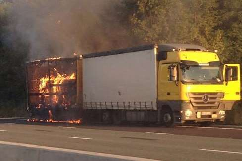 A lorry ablaze on the M25. Picture: @Kent_999s