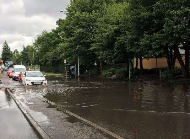 The A20 London Road at Aylesford is flooded. Pic courtesy of @miketango901