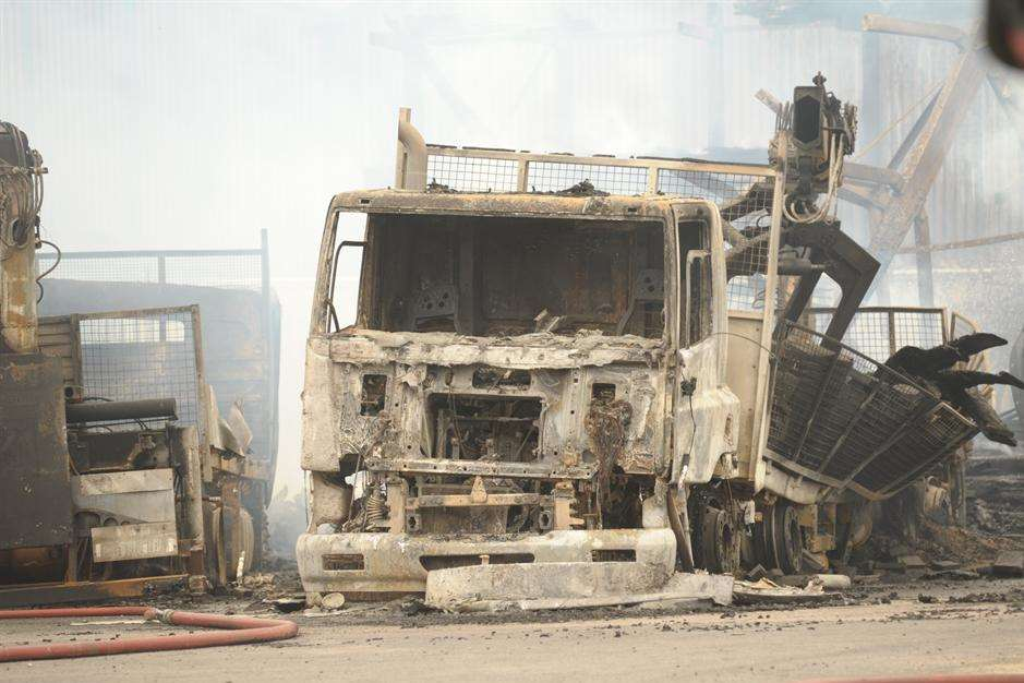 The Northfleet fire also involved six long goods vehicles