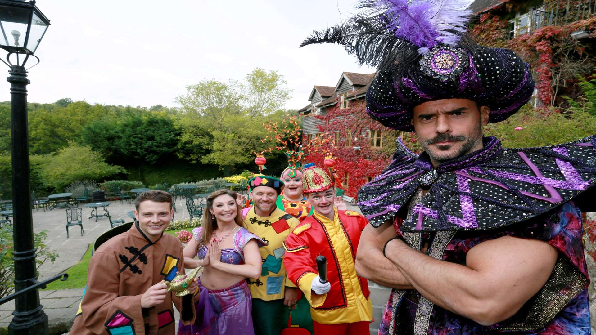 Michael Greco and the cast of Aladdin at High Rocks in Tunbridge Wells Picture: Phil Lee