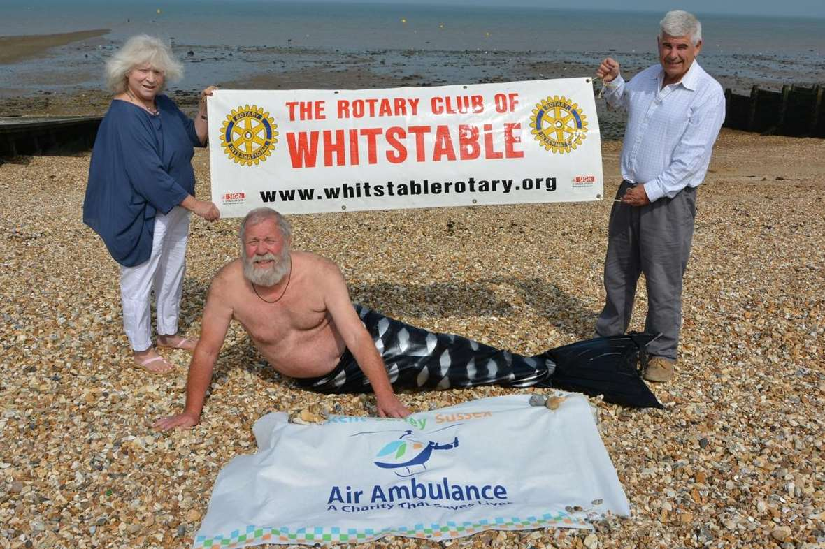 Whitstable rotary president David Cavell will dress as a merman for the charity swim