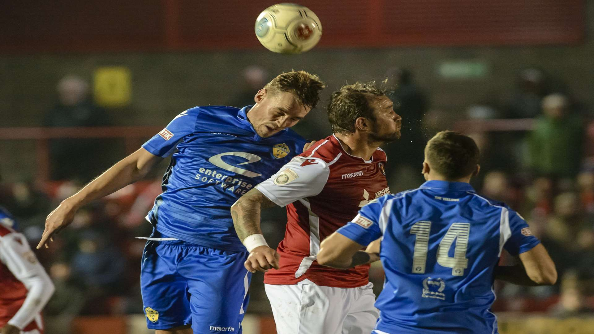 Danny Kedwell up for a header against Warrington Picture: Andy Payton