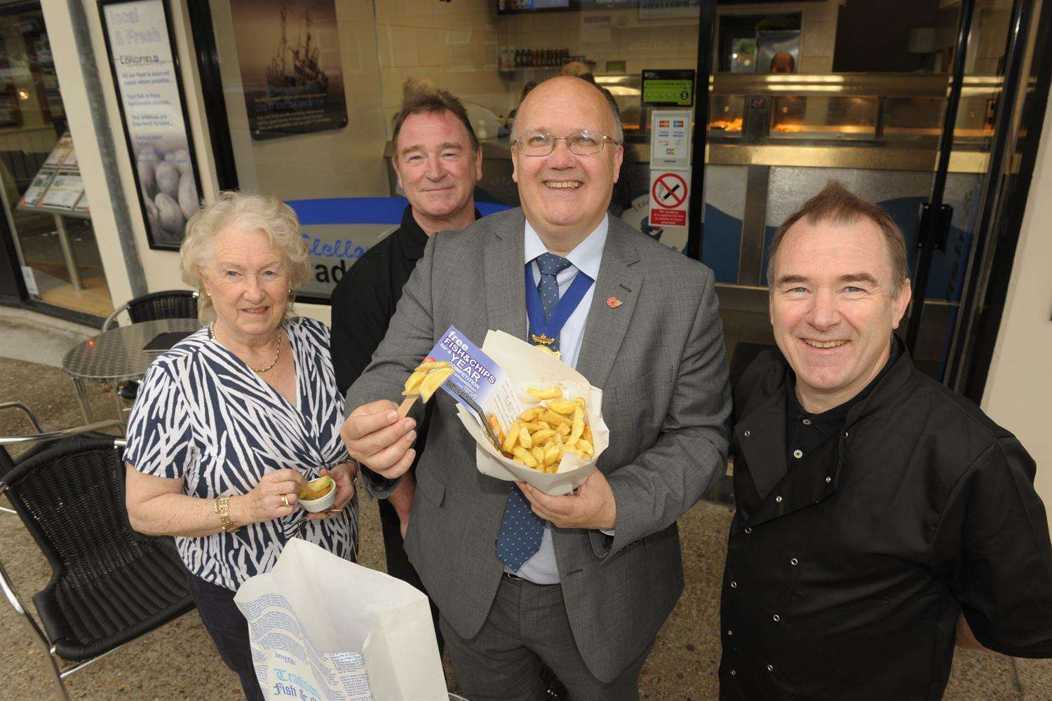 Picking the winner of Fish & Chips for a year, Dorreen McClelland, David and Paul McClelland and Jeremy Kite.