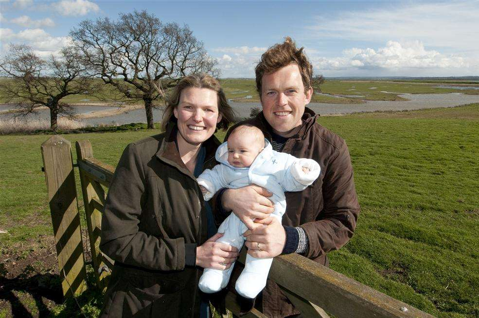 Gareth and Georgina Fulton and their baby, Eleni, at Elmley Nature Reserve