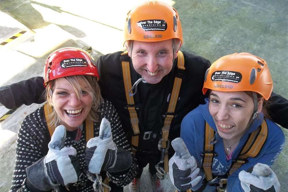 Joyce Harrison, Father Stephen Boyle and Natasha Solly of Dartford took part in the KM Charity Team abseil in Maidstone to raise funds for Life Category
