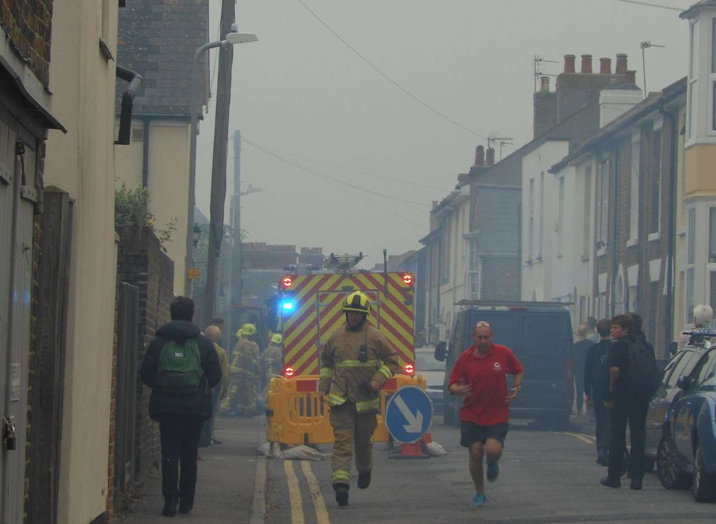 Fire crews at the scene of the shed fire in York Road. Picture: Tony Wickenden