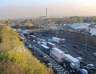Heavy traffic at the Dartford Crossing. Photo: KCC Highways (1570532)