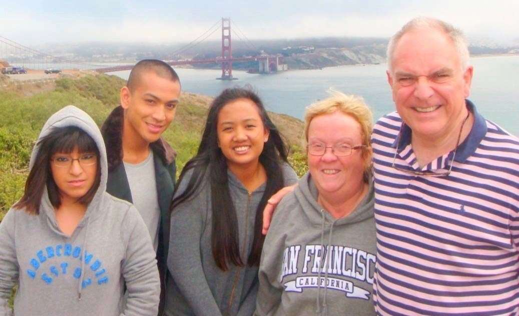 The family on holiday in San Francisco. Left to right: Cecilia, Dominic, Florence, Joanne and David