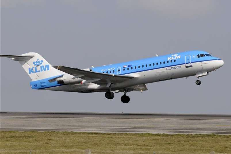 A KLM flight takes off from Manston airport to Schiphol in Amsterdam