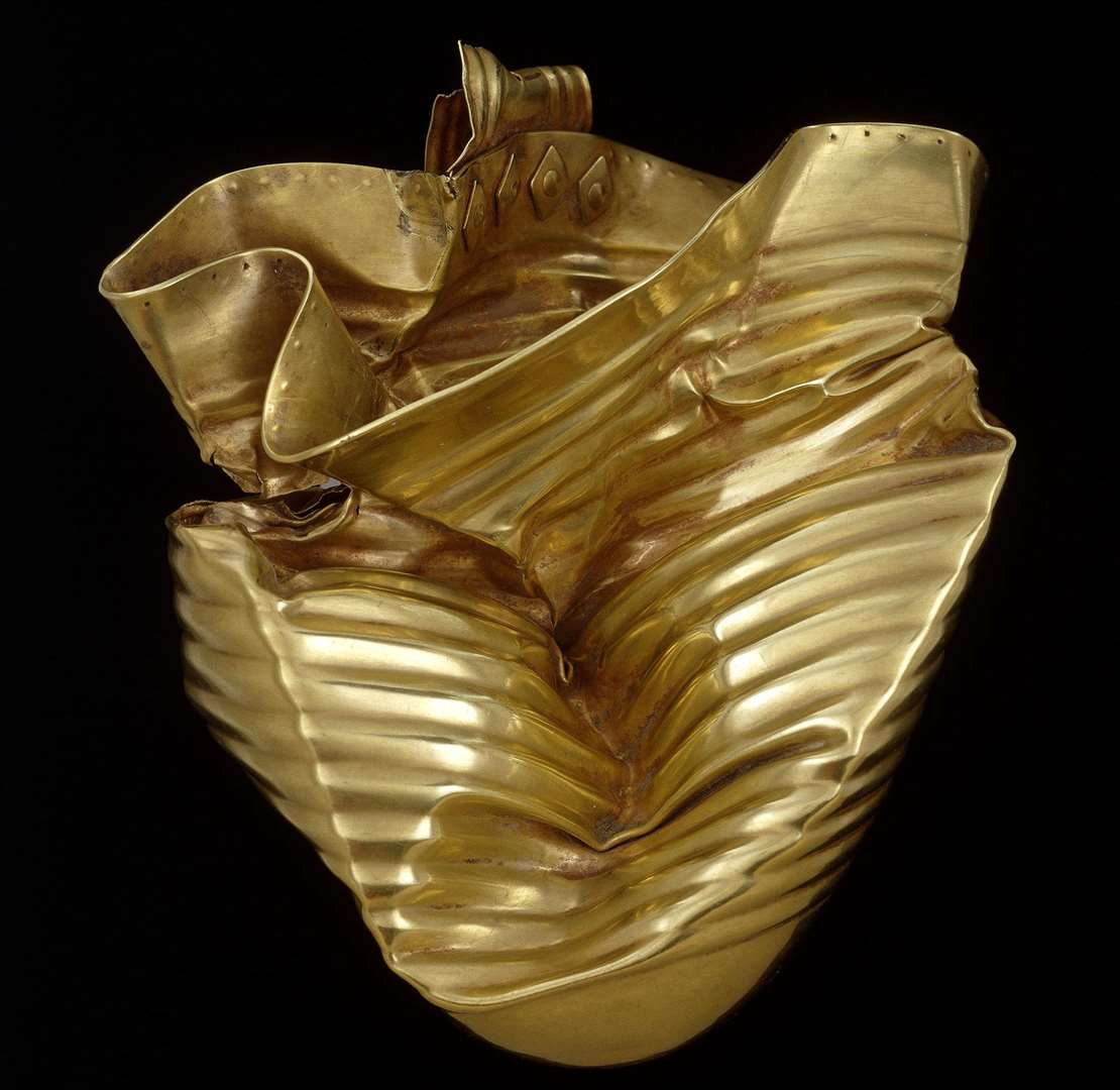 The Ringlemere Gold Cup, found crushed in Woodnesborough, which has been bought by the British Museum. It dates from 1700-1500BC