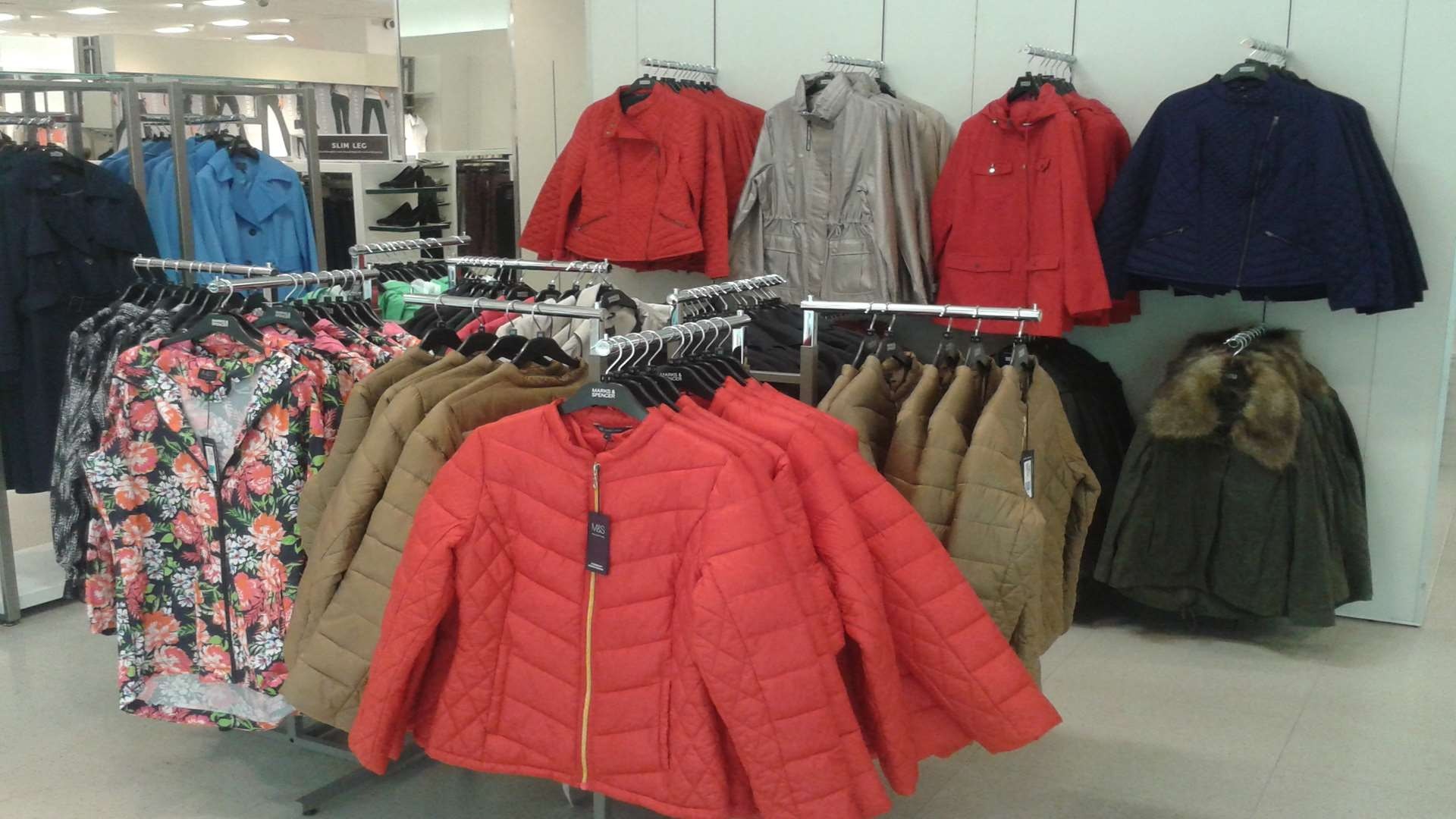 Marks and Spencer's range of padded jackets and fur-lined coats has arrived as heatwave warnings have been issued for Kent