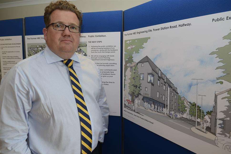 Paul Graham, of TBH Sheerness Ltd, with the plans for the proposed housing development in Power Station Road, Halfway
