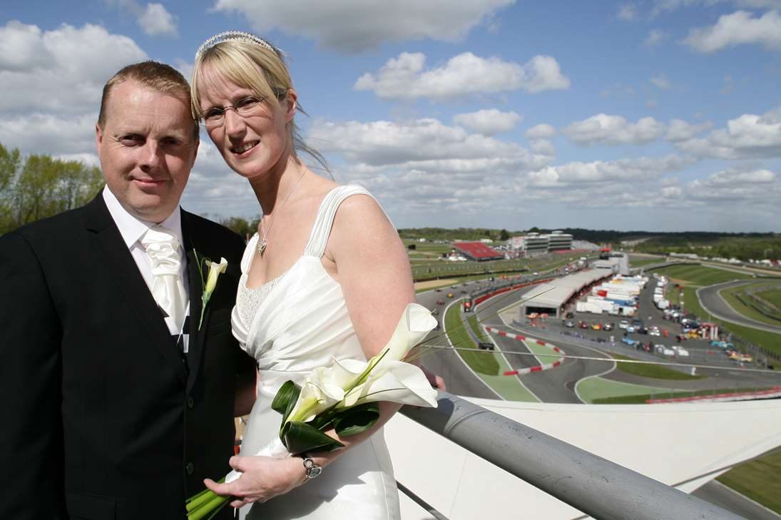 A couple get married at Brands Hatch