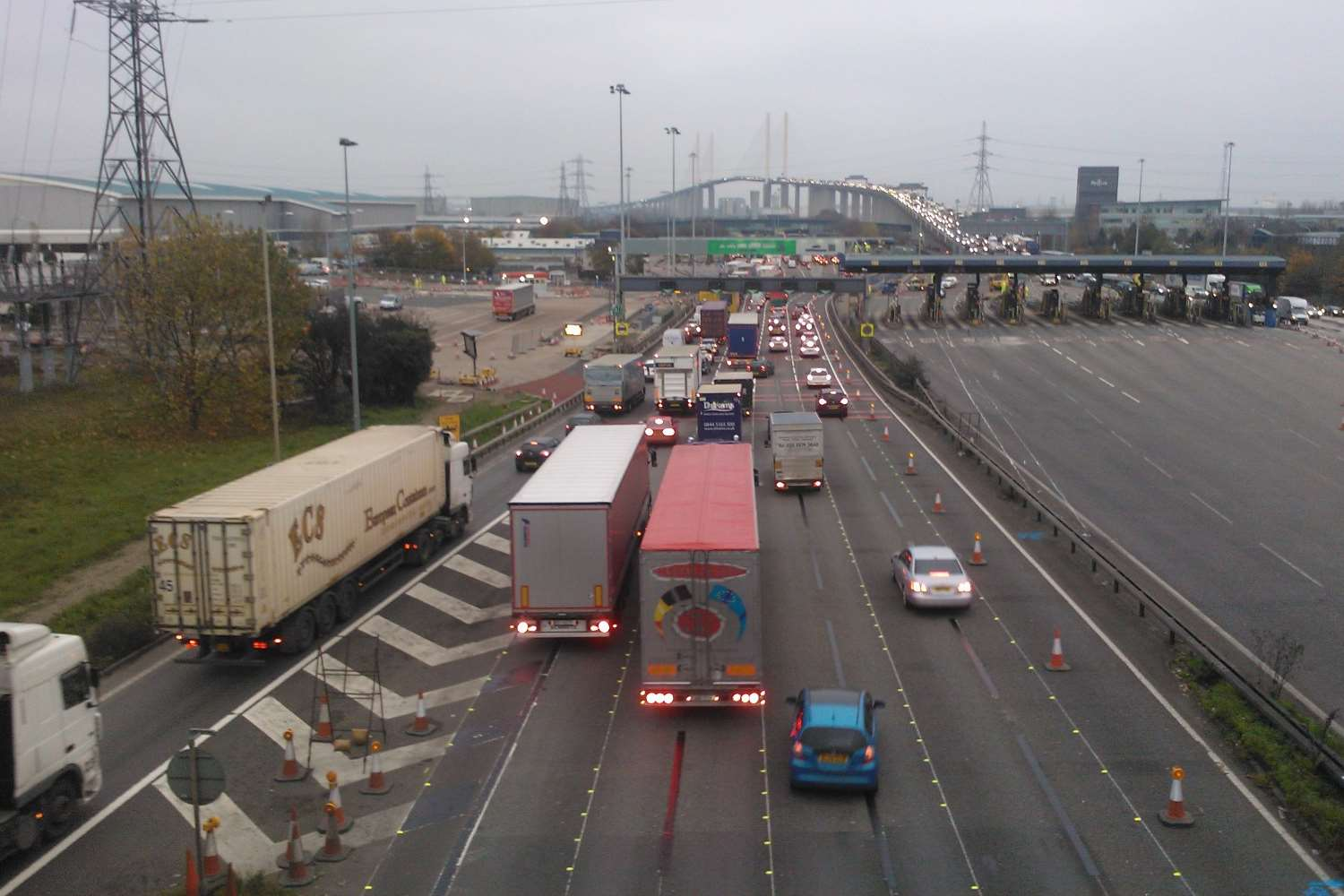 Traffic at around 8.30am at the Dartford Crossing