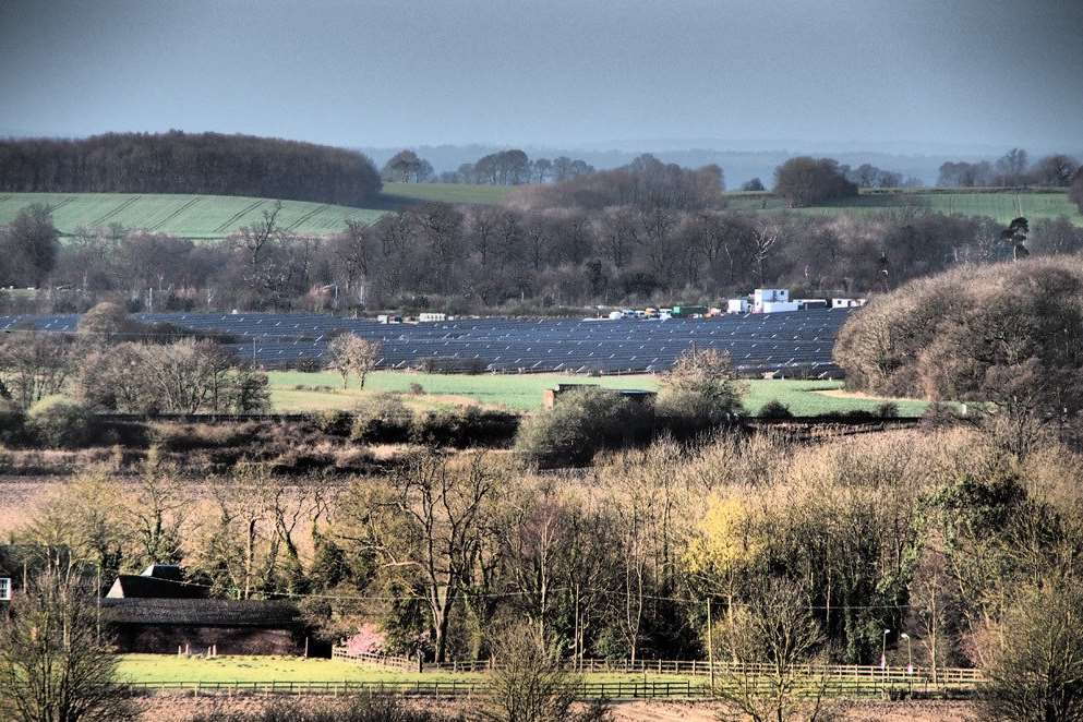 The solar farm at Lenham, seen from Pilgrims Way, has already got through the planning system
