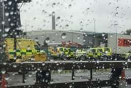 Ambulances at the Dartford Crossing after the suspected illegal immigrants were found. Picture: @Losing_Nemo