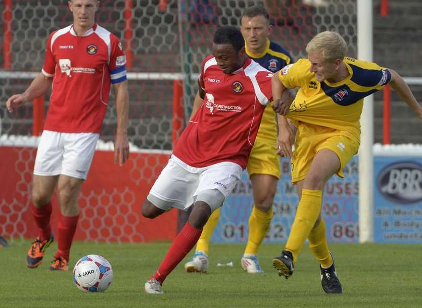 Osei Sankofa on the ball against Eastbourne in the FA Cup Picture: Andy Payton