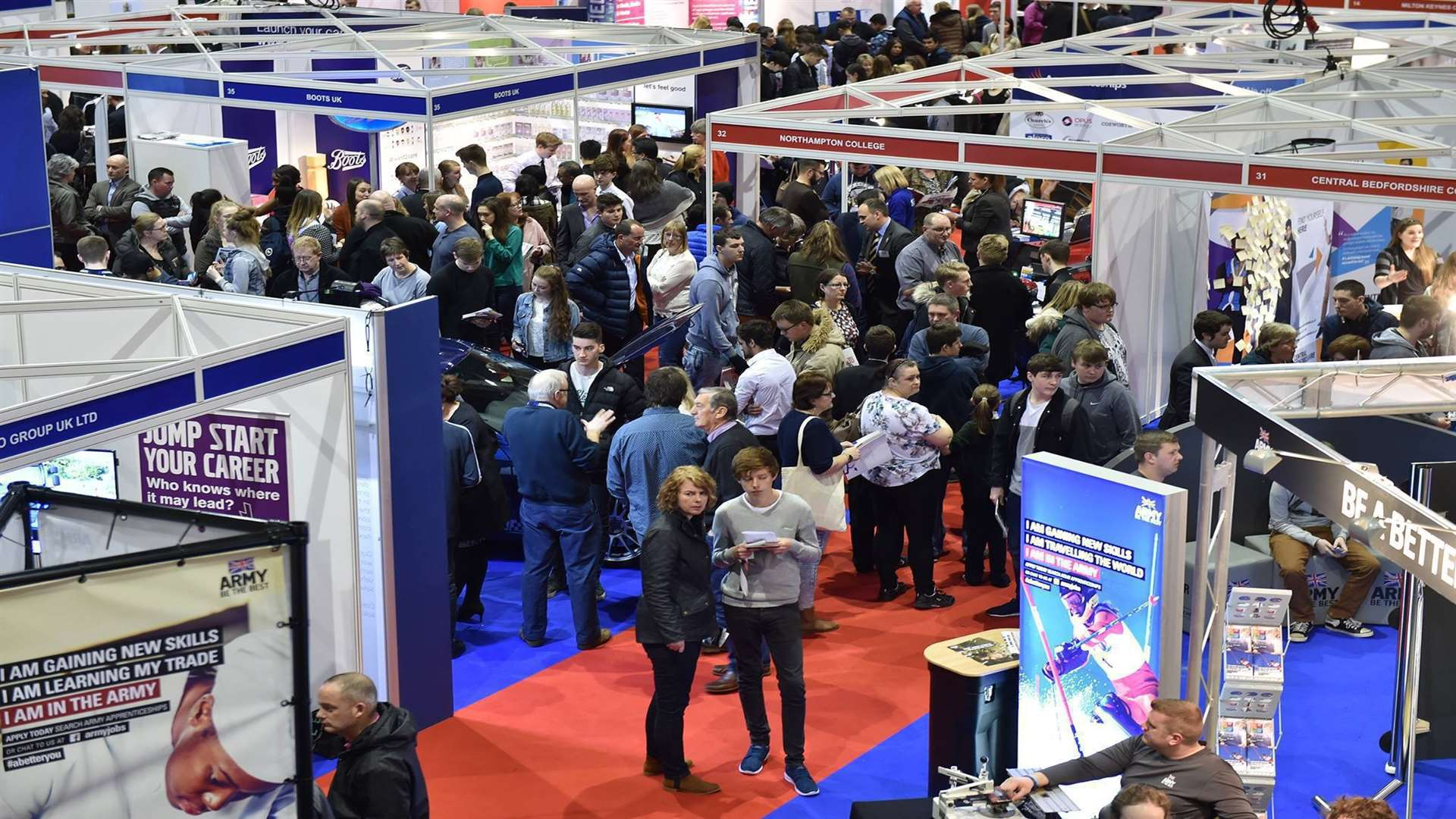 The National Apprenticeships Show will take place at the Kent Event Centre in Detling from Tuesday to Wednesday, March 20 to 21