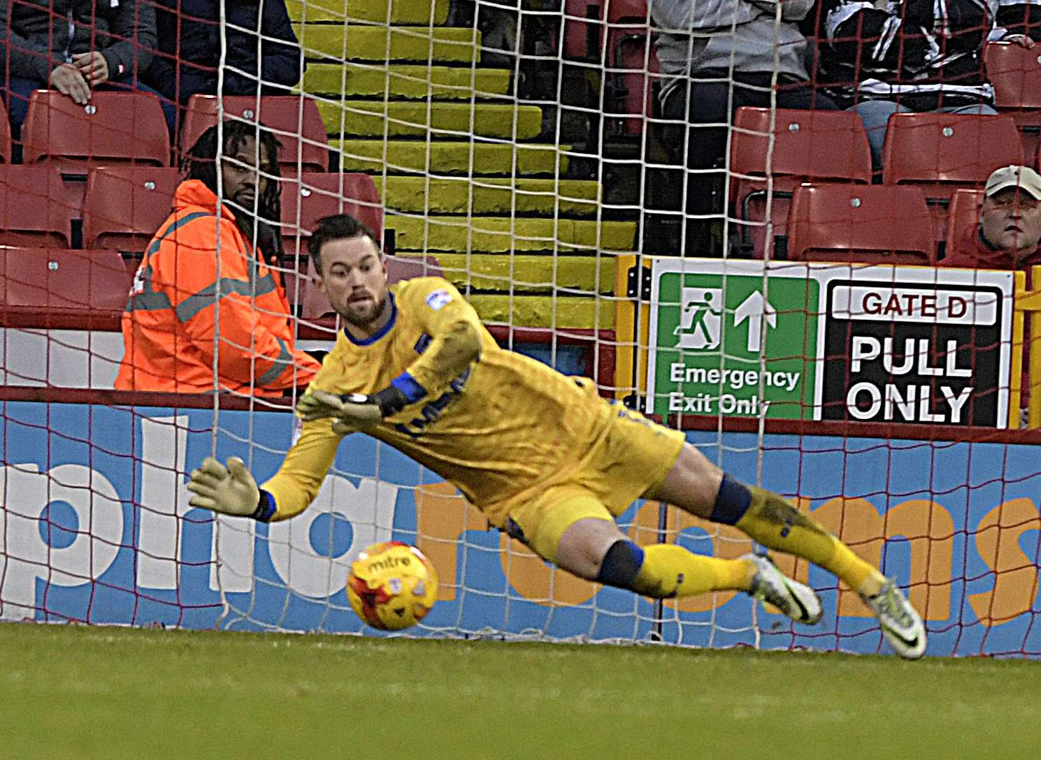 Stuart Nelson pulls off a save Picture: Barry Goodwin