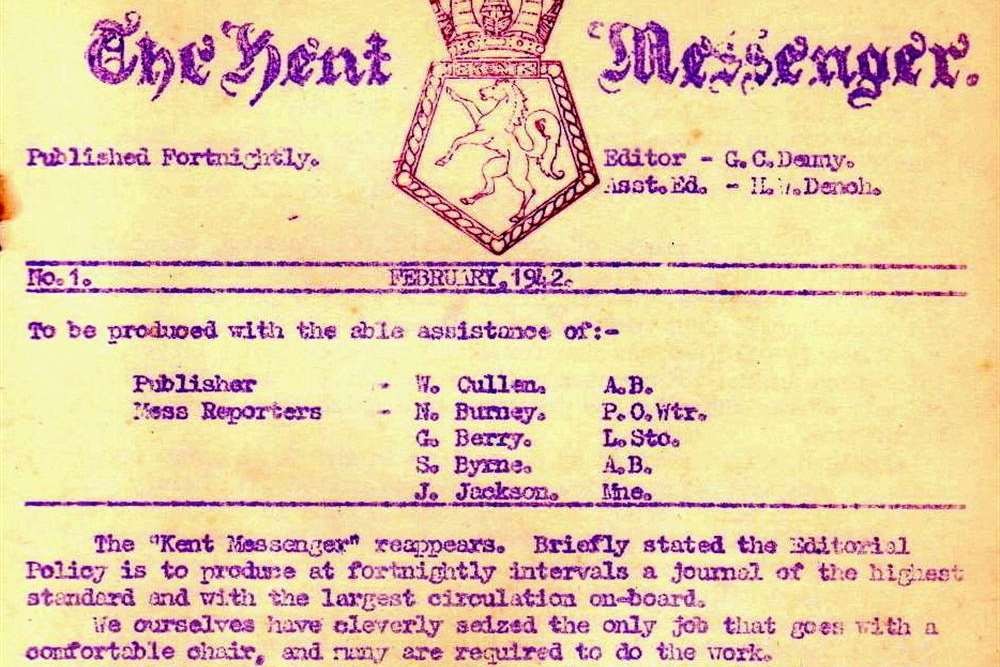"The front cover of the first ""Kent Messenger"" published aboard HMS Kent"