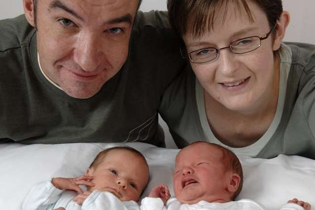 Tracy Mock and Mike Furnell with twins Todd and Aaron as newborns before they were ill