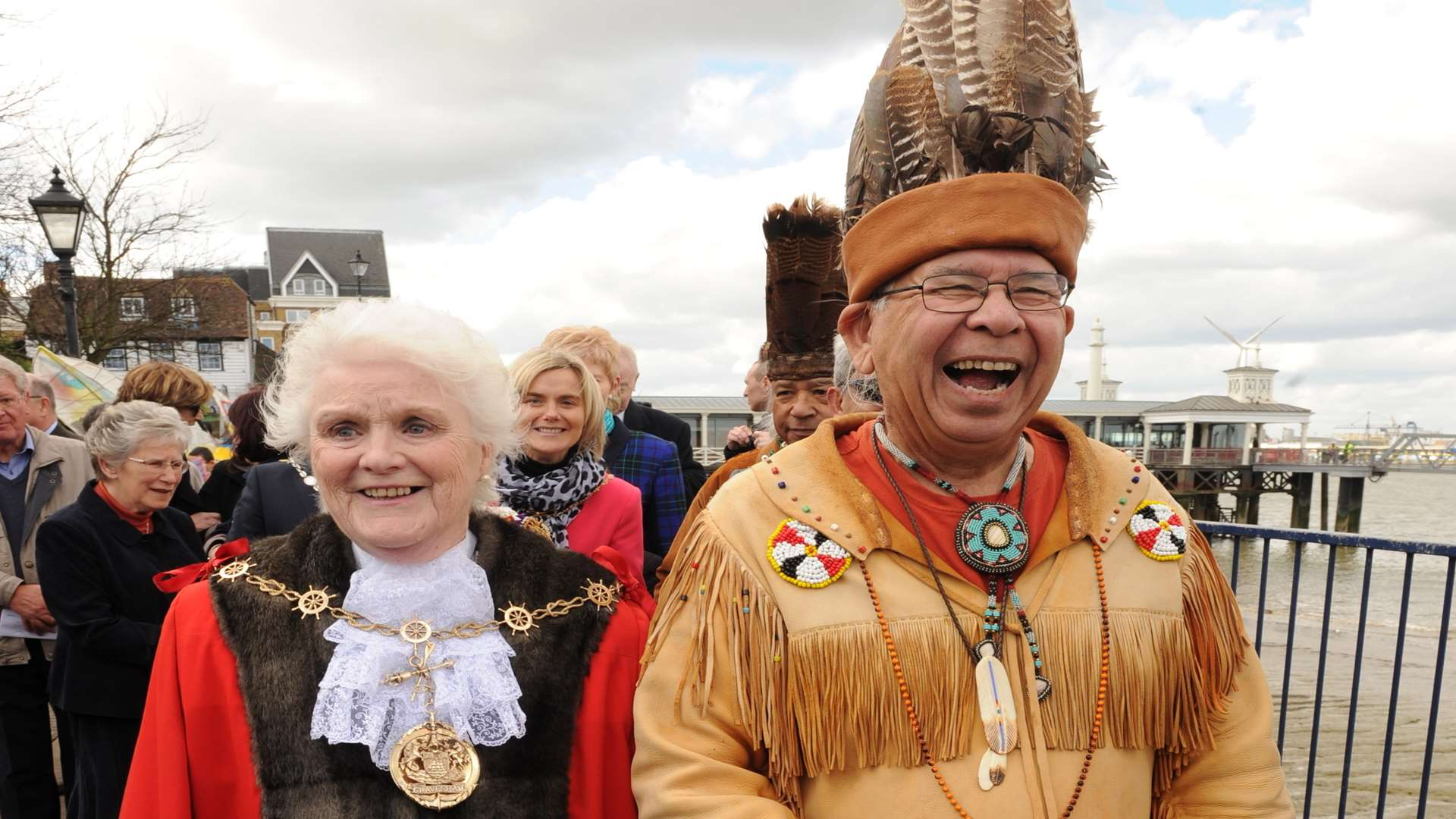 Cllr Greta Goatley took part in celebrations to mark the 400th anniversary of Pocahontas' death. Picture: Steve Crispe