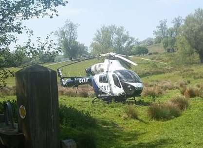 The air ambulance landed nearby, although the patient was taken to hospital by road. Picture: Janis Evans