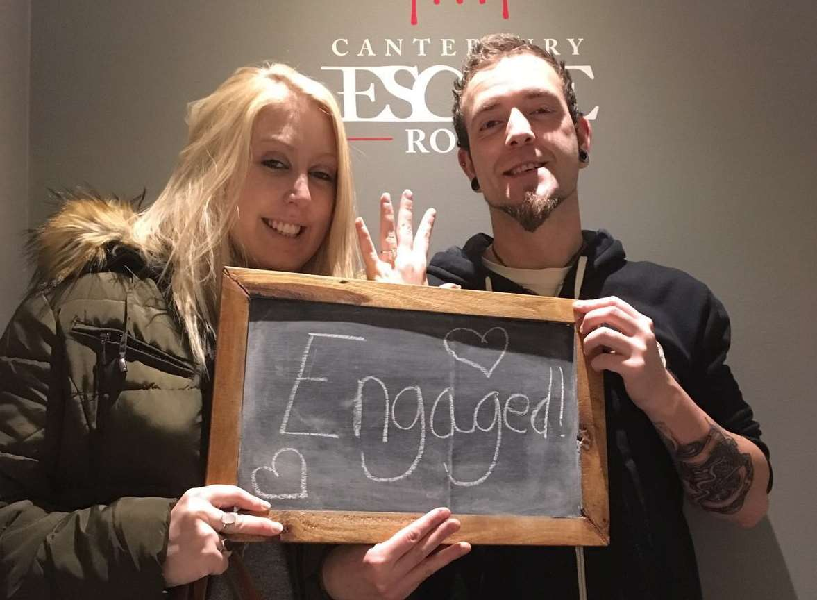 Paul Wright got engaged to Chloe Miles at Canterbury Escape Room