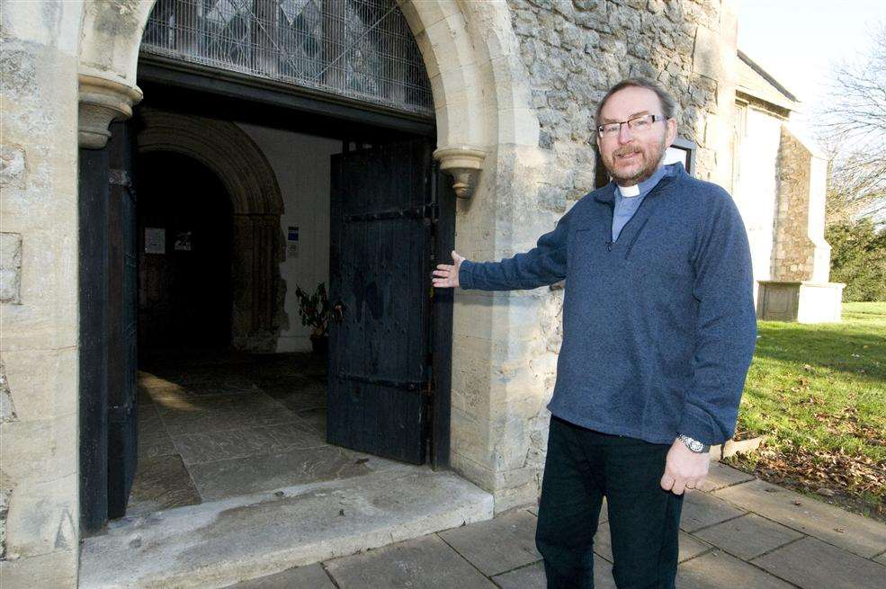 The Rev Tim Hall hopes to reopen the main entrance to Minster Abbey and stop people using this porch